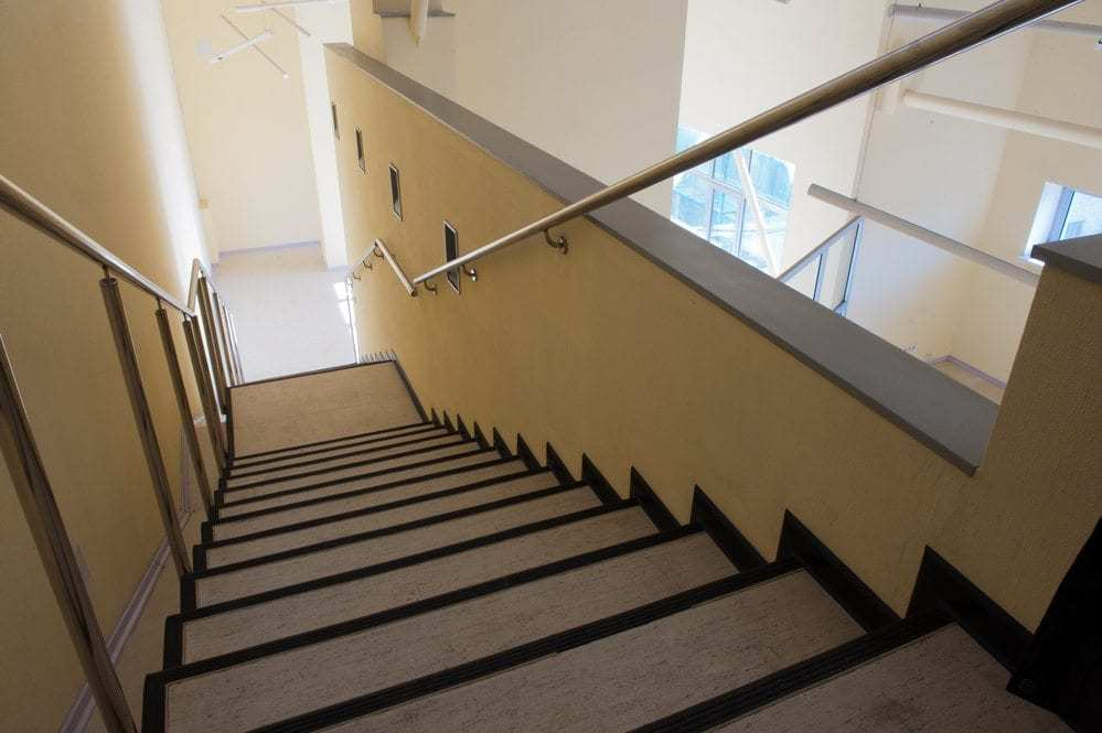 handrails, photo looking down steps