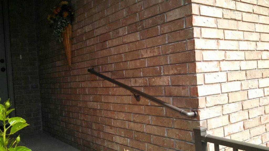 Aluminum Handrail Direct handrail on brick wall