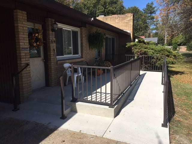 ADA Ramp with Aluminum Handrail Direct Handrail