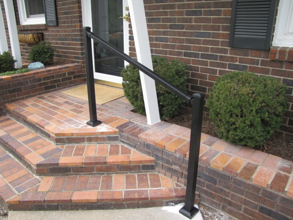 Aluminum Handrail Direct black handrail on home entry steps