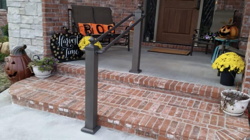 Aluminum Handrail Direct railing in front of home in October